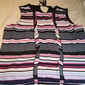 2X Elle Pleated Striped Blouse-Like New & Adorable
